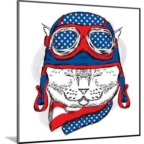 Funny Cat in the Hat and Scarf. Vector Illustration.-Vitaly Grin-Mounted Art Print