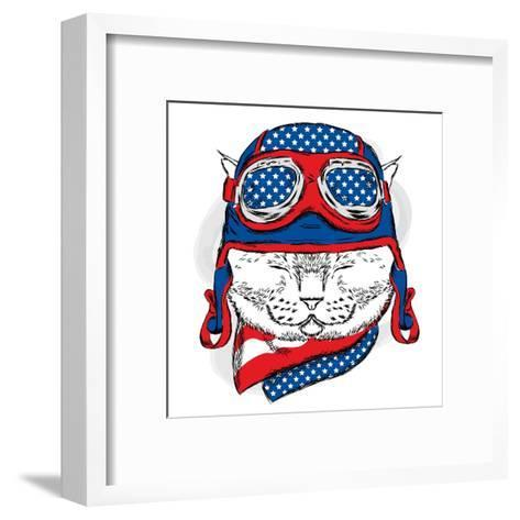 Funny Cat in the Hat and Scarf. Vector Illustration.-Vitaly Grin-Framed Art Print