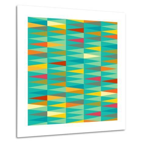 Vector Abstract Geometric Triangle Seamless Pattern in Tribal Style with Ethnic Motifs. Colorful En-babayuka-Metal Print