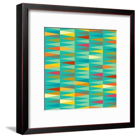 Vector Abstract Geometric Triangle Seamless Pattern in Tribal Style with Ethnic Motifs. Colorful En-babayuka-Framed Art Print