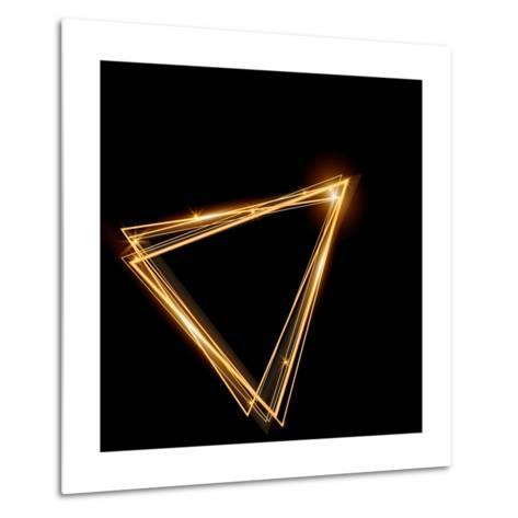 Gold Triangle Glowing Frame. Abstract Background. Jewelry Triangle. Can Use Design Element for Your-TTP999-Metal Print