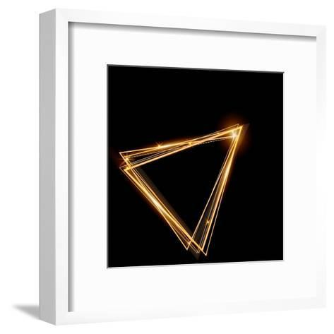 Gold Triangle Glowing Frame. Abstract Background. Jewelry Triangle. Can Use Design Element for Your-TTP999-Framed Art Print