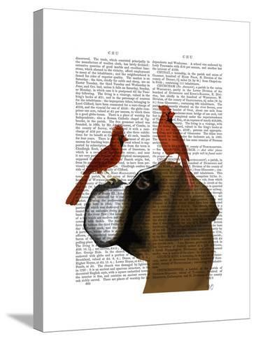 Boxer and Red Cardinals-Fab Funky-Stretched Canvas Print