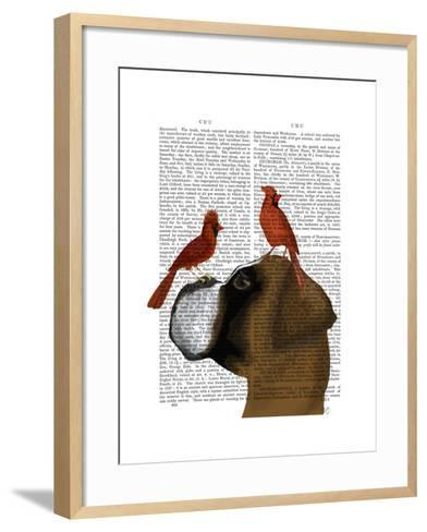 Boxer and Red Cardinals-Fab Funky-Framed Art Print