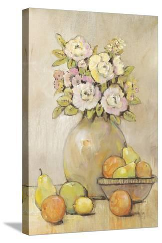 Still Life Study Flowers & Fruit II-Tim OToole-Stretched Canvas Print