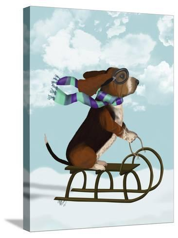 Basset Hound, Sledging-Fab Funky-Stretched Canvas Print