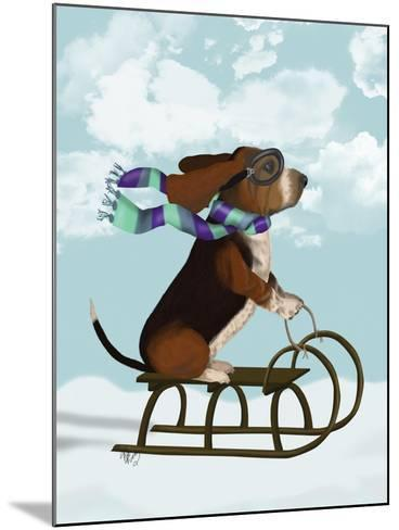 Basset Hound, Sledging-Fab Funky-Mounted Art Print