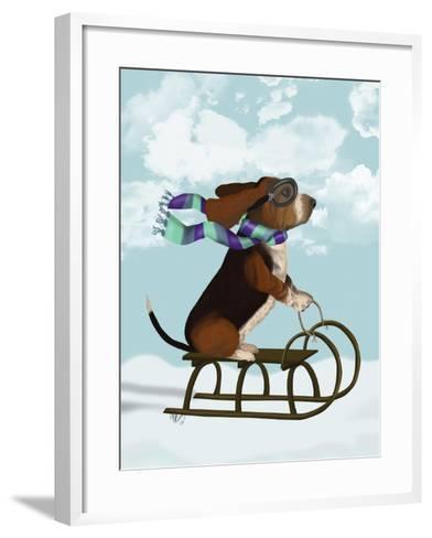 Basset Hound, Sledging-Fab Funky-Framed Art Print