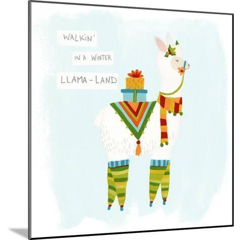 Fa-la-la-la Llama II-June Vess-Mounted Art Print