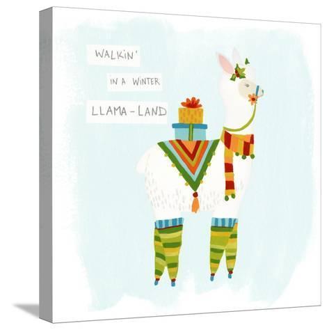 Fa-la-la-la Llama II-June Vess-Stretched Canvas Print
