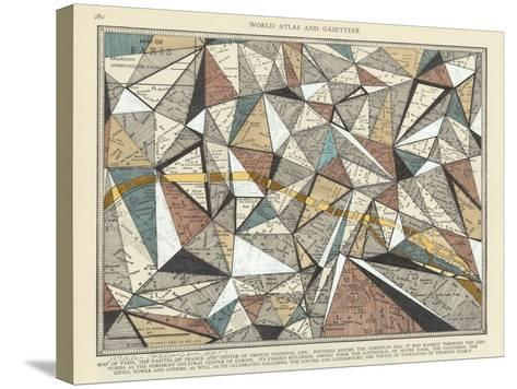 Modern Map of Paris-Nikki Galapon-Stretched Canvas Print