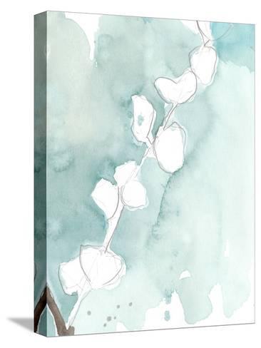 Ginkgo on Dusty Teal V-Jennifer Goldberger-Stretched Canvas Print