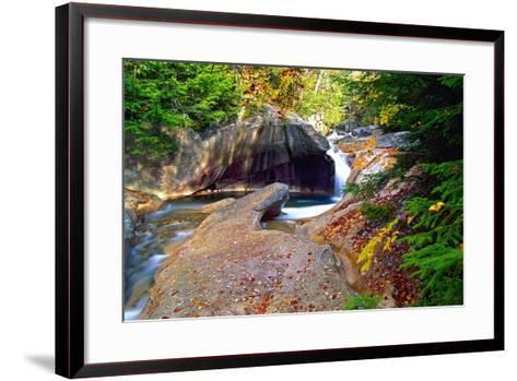Cascading Creek of the Basin, Franconia Notch, NH-George Oze-Framed Art Print
