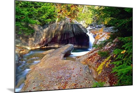 Cascading Creek of the Basin, Franconia Notch, NH-George Oze-Mounted Photographic Print
