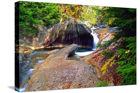 Cascading Creek of the Basin, Franconia Notch, NH-George Oze-Stretched Canvas Print