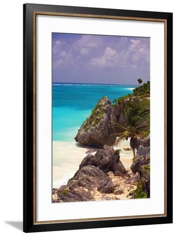 Rocky Cove, Tulum Beach, Yucatan, Mexico-George Oze-Framed Art Print