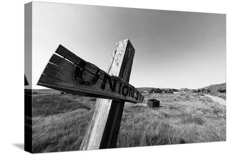Ghost Town Street Sign, Bodie, California-George Oze-Stretched Canvas Print
