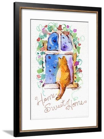 Home Sweet Home Cat in Window-sylvia pimental-Framed Art Print