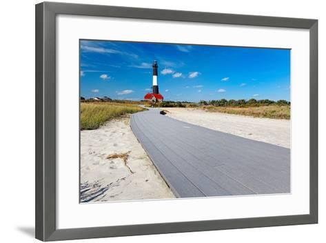Boardwalk and Lighthouse, Fire Island, New York-George Oze-Framed Art Print