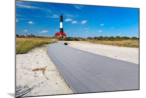 Boardwalk and Lighthouse, Fire Island, New York-George Oze-Mounted Photographic Print