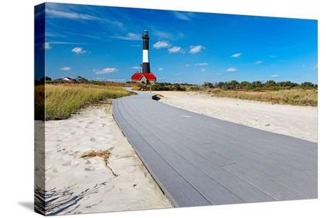 Boardwalk and Lighthouse, Fire Island, New York-George Oze-Stretched Canvas Print
