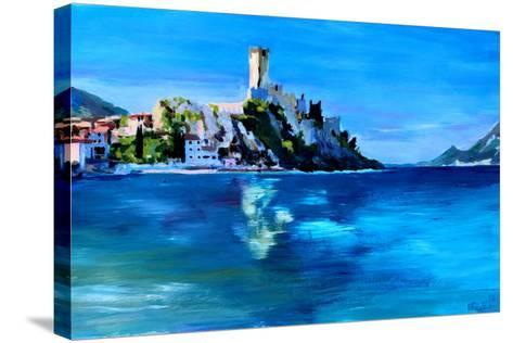 Malcesine with Castello Scaligero-Markus Bleichner-Stretched Canvas Print