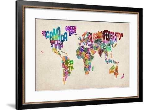 Typographic Text World Map-Michael Tompsett-Framed Art Print