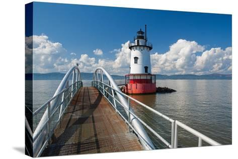 Tarrytown Lighthouse on the Hudson River-George Oze-Stretched Canvas Print