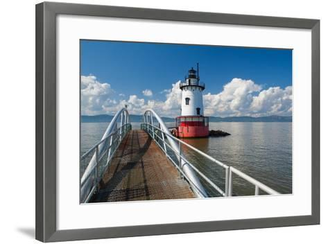 Tarrytown Lighthouse on the Hudson River-George Oze-Framed Art Print