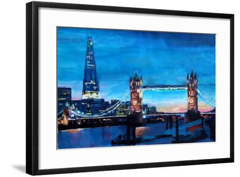 London Tower Bridge and The Shard at Dusk-Markus Bleichner-Framed Art Print