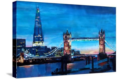 London Tower Bridge and The Shard at Dusk-Markus Bleichner-Stretched Canvas Print