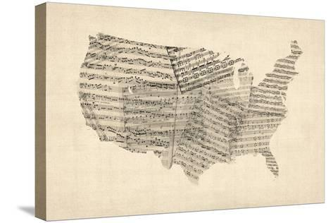United States Old Sheet Music Map-Michael Tompsett-Stretched Canvas Print