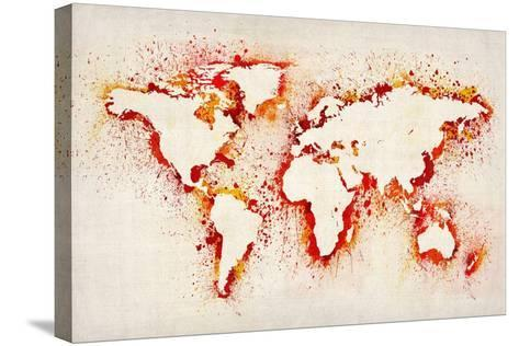 Map of the World Paint Splashes-Michael Tompsett-Stretched Canvas Print