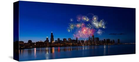 Chicago Lakefront Fireworks-Steve Gadomski-Stretched Canvas Print