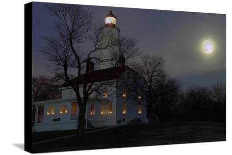 Sandy Hook Lighthouse With Full Moon-George Oze-Stretched Canvas Print
