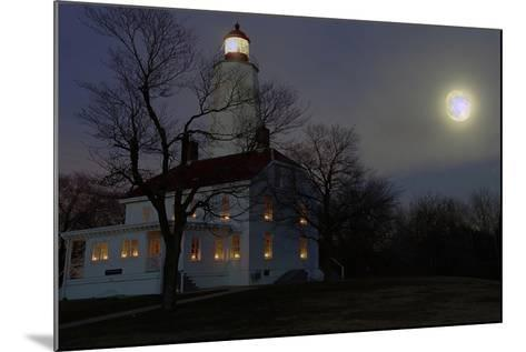 Sandy Hook Lighthouse With Full Moon-George Oze-Mounted Photographic Print