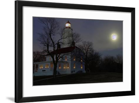 Sandy Hook Lighthouse With Full Moon-George Oze-Framed Art Print