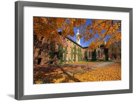 Nassau Hall At Fall, Princeton University-George Oze-Framed Art Print