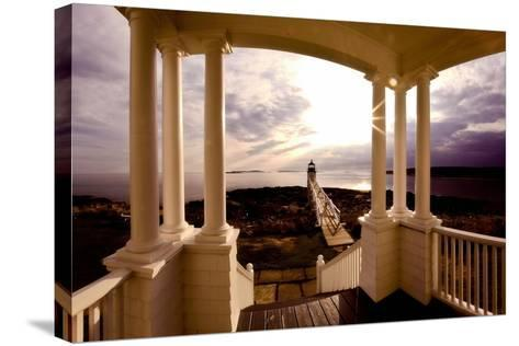 Marshall Point Sunset Viewed from a Balcony-George Oze-Stretched Canvas Print