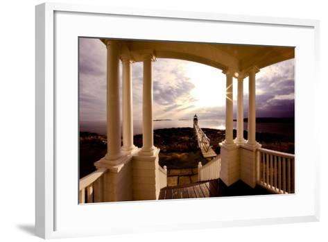 Marshall Point Sunset Viewed from a Balcony-George Oze-Framed Art Print