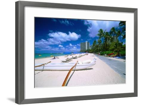Beach Umbrellas and Outrigger Canoe-George Oze-Framed Art Print