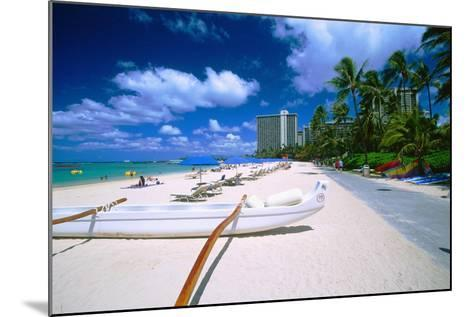 Beach Umbrellas and Outrigger Canoe-George Oze-Mounted Photographic Print