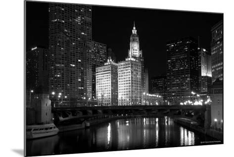 Black And White Of Chicago River-Patrick Warneka-Mounted Photographic Print