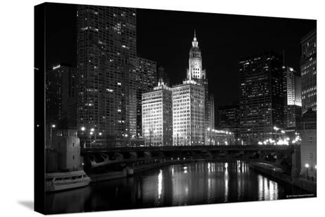 Black And White Of Chicago River-Patrick Warneka-Stretched Canvas Print