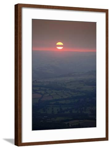 Sunset over rural Wales valley in Powys-Charles Bowman-Framed Art Print