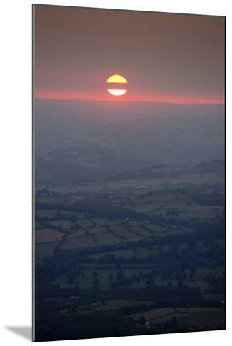 Sunset over rural Wales valley in Powys-Charles Bowman-Mounted Photographic Print