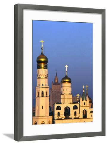 Church towers and crosses of the Kremlin, Moscow-Charles Bowman-Framed Art Print