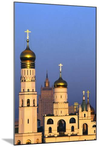Church towers and crosses of the Kremlin, Moscow-Charles Bowman-Mounted Photographic Print