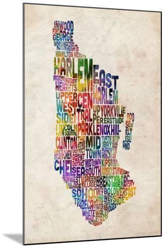 Manhattan New York Text Map-Michael Tompsett-Mounted Art Print