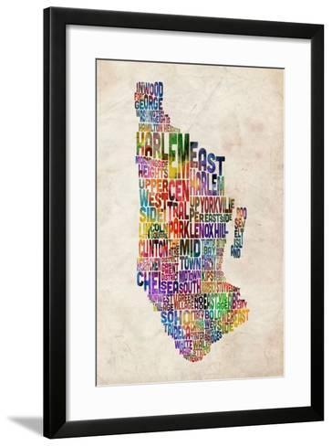 Manhattan New York Text Map-Michael Tompsett-Framed Art Print